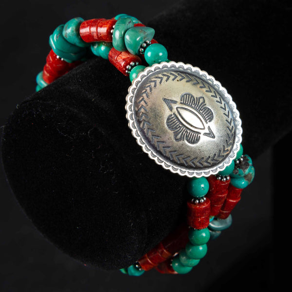 Pendleton Round-Up Coral and Turquoise Concho Bracelet