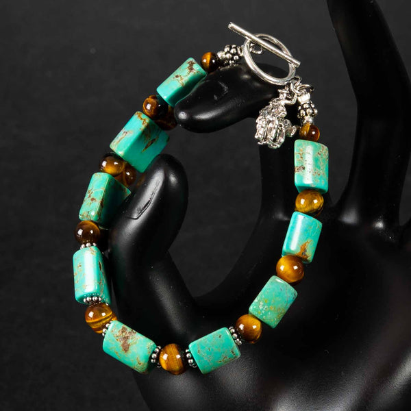Pendleton Round-Up Turquoise and Tigers Eye Stone Bracelet