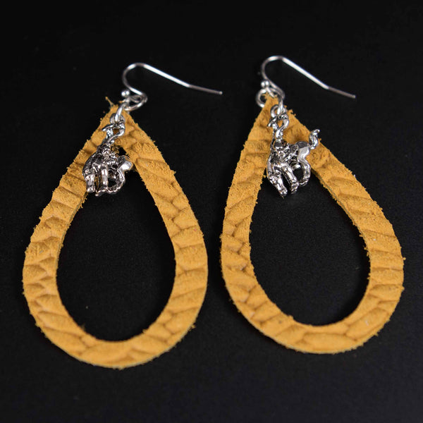 Pendleton Round-Up Mustard Leather Teardrop Earrings