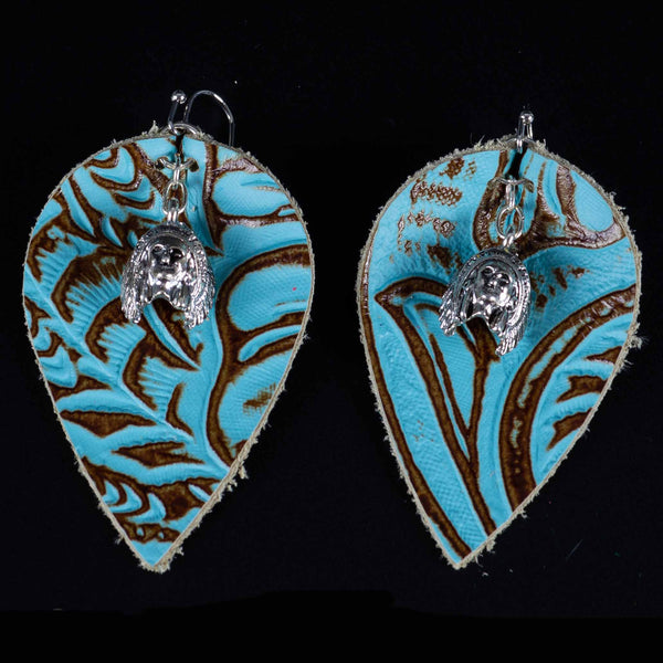 Happy Canyon Turquoise Stamped Leather Earrings