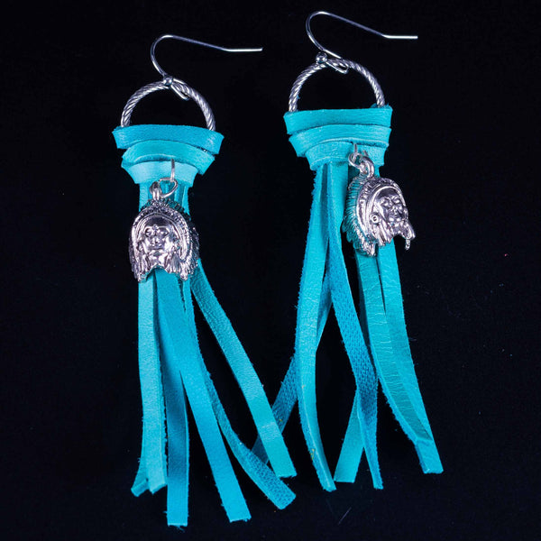 Happy Canyon Turquoise Leather Fringe Earrings