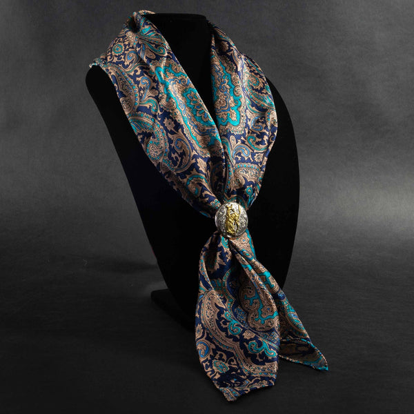 Pendleton Round-Up Blue/Gold Paisley Silk Wild Rag