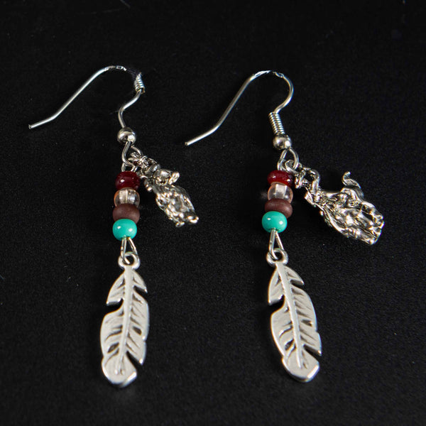 Pendleton Round-Up Beaded Feather Earrings