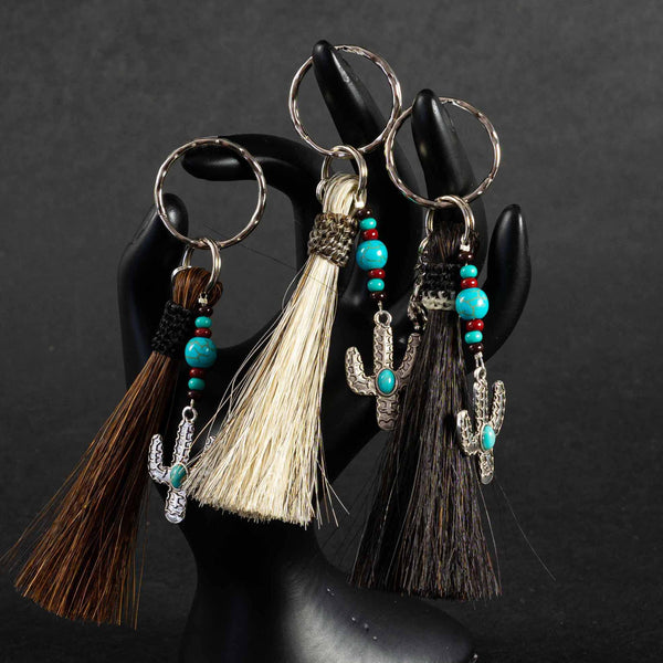 Pendleton Round-Up Horse Hair Cactus Keychain