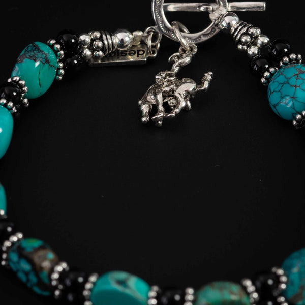 Pendleton Round-Up Turquoise and Onyx Stone Bracelet