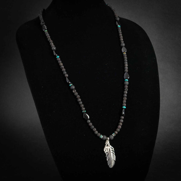 Pendleton Round-Up Lava Bead Feather Necklace