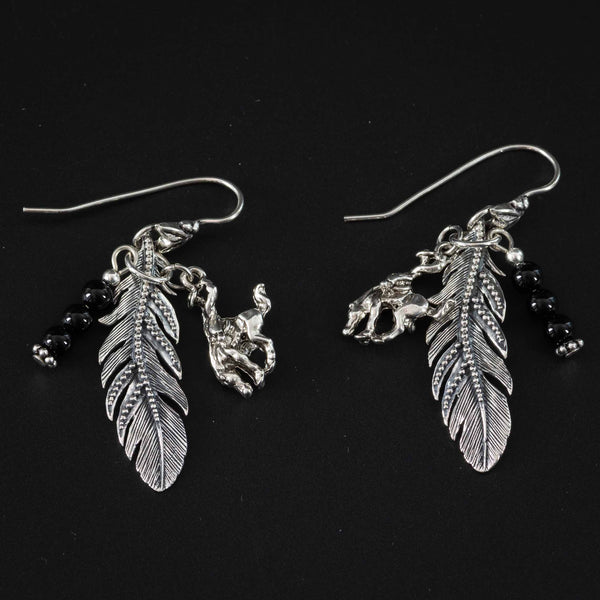 Pendleton Round-Up Onyx Feather Earrings