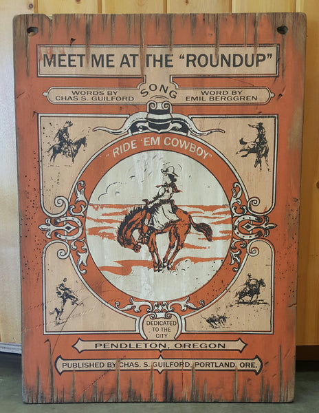 "Large Pendleton Round-Up ""Meet Me At The Round-Up"" Wooden Sign"