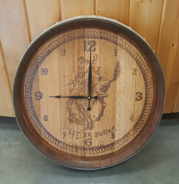 Pendleton Round-Up Wine Barrel Head Clock
