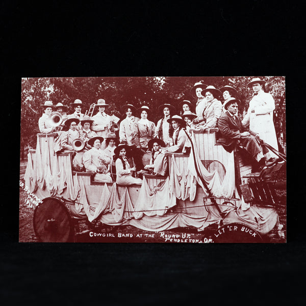 Vintage Pendleton Round-Up Cowgirl Band Postcard