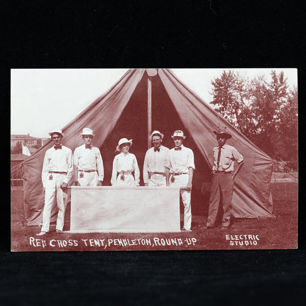 Vintage Pendleton Round-Up Red Cross Tent Postcard