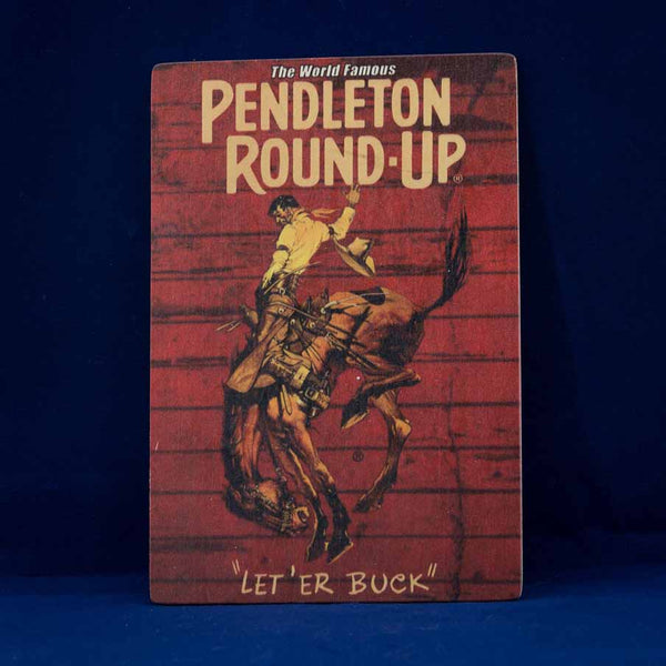 Pendleton Round-Up Wooden Barnwood Postcard