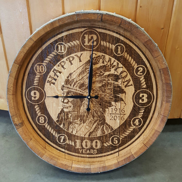 Happy Canyon Wine Barrel Head Clock