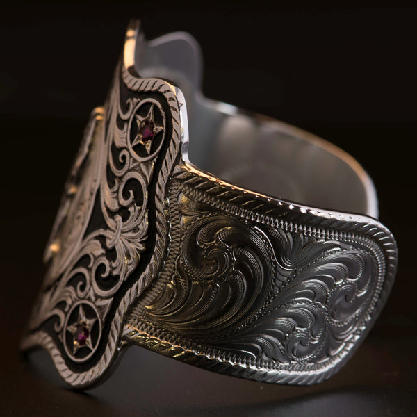Montana Silversmiths Pendleton Round-Up Cuff w/ Red Stones
