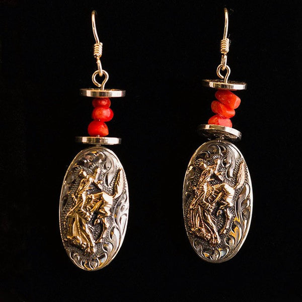 Pendleton Round-Up Vogt Earrings w/ Red Stones