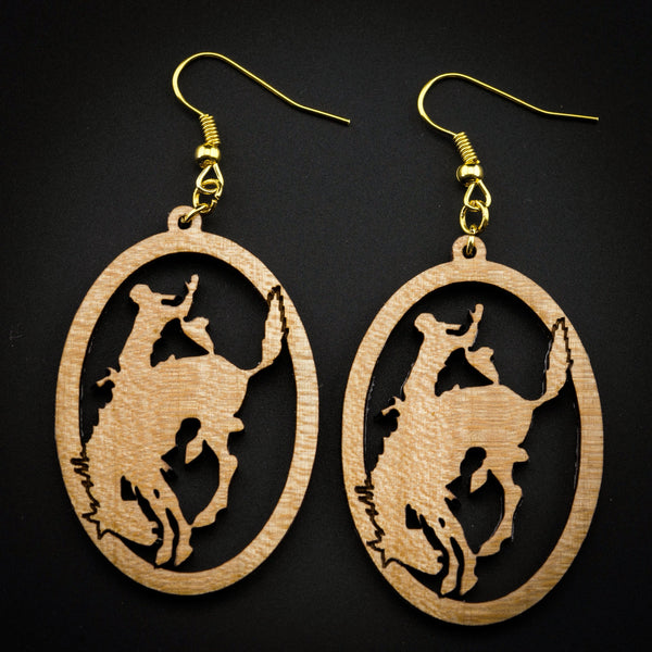 Pendleton Round-Up Oval Wooden Cut Out Earrings