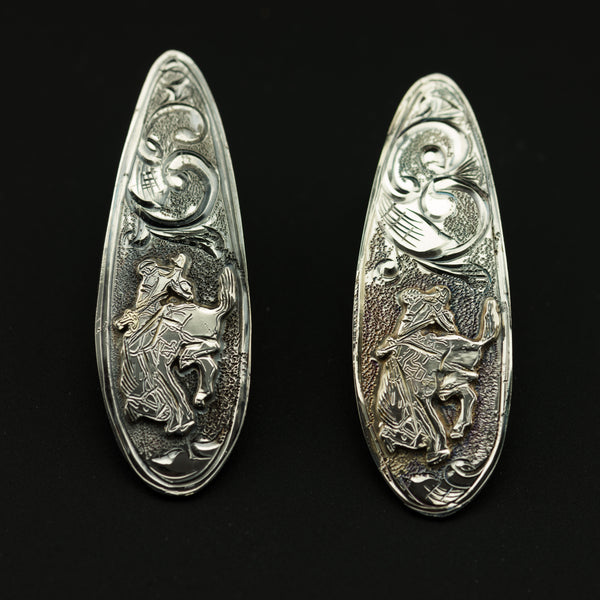 Pendleton Round-Up Tear Drop Earrings with Silver Bucking Horse