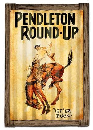 Pendleton Round-Up Corrugated Barnwood Frame Sign