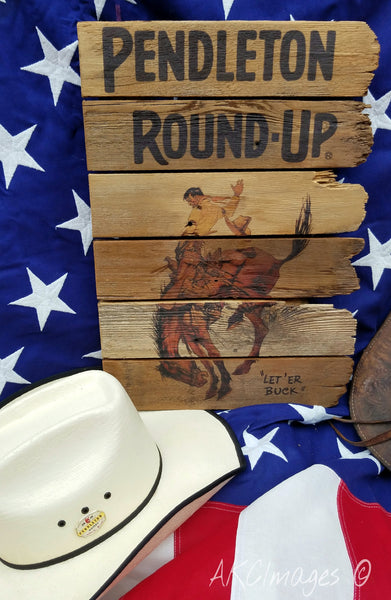 Pendleton Round-Up Reclaimed Barnwood Sign