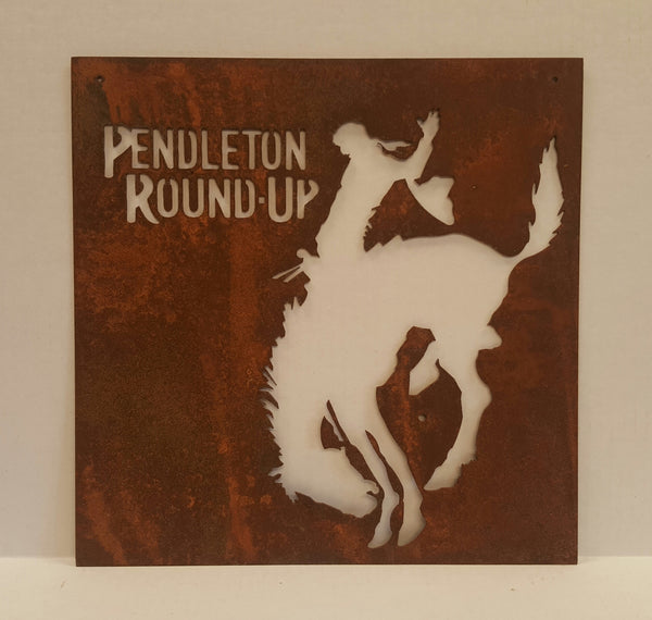Pendleton Round-Up Rusted Metal Square Cut Out Sign