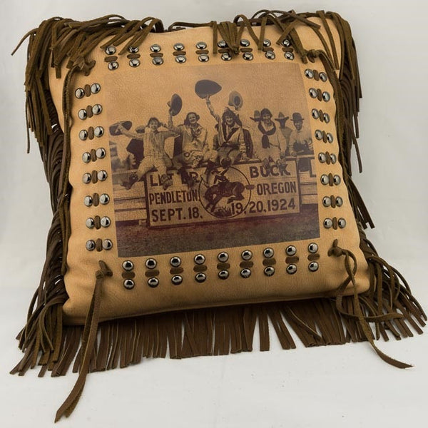 Pendleton Round-Up Cowgirls Leather Pillow