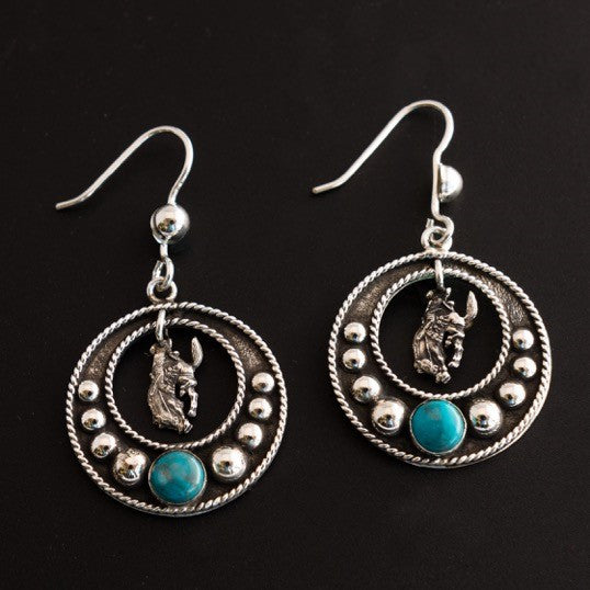 Pendleton Round-Up Vogt Turquoise Stone Dangle Earrings