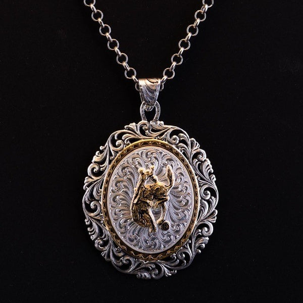 Pendleton Round-Up Montana Silversmiths Oval Filigree Necklace