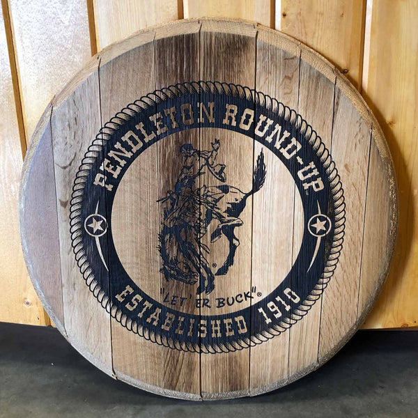 Pendleton Round-Up Wine Barrel Head Sign