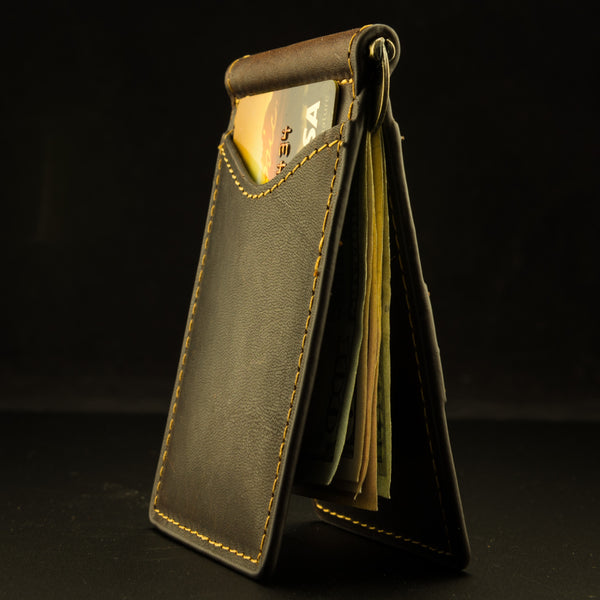 Pendleton Round-Up Leather Clip Wallet: Dark Brown