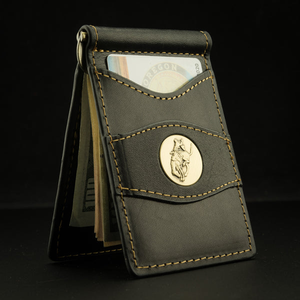 Pendleton Round-Up Leather Clip Wallet: Black