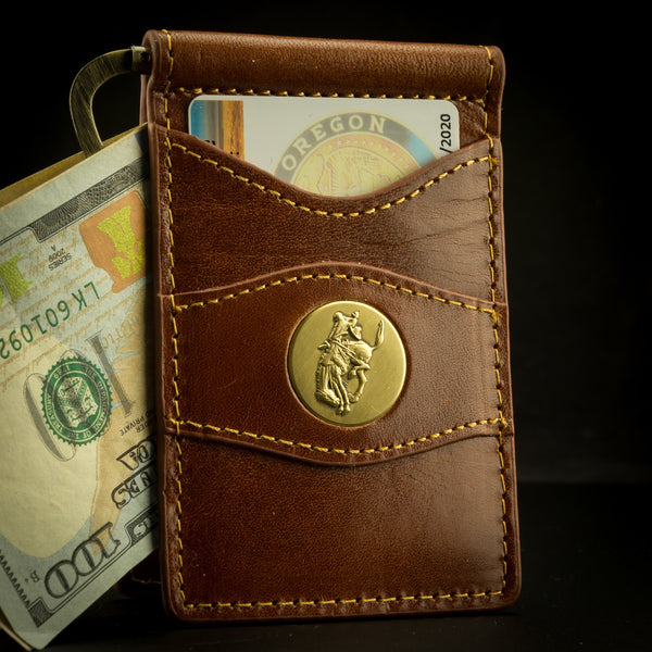 Pendleton Round-Up Leather Clip Wallet: Saddle Brown
