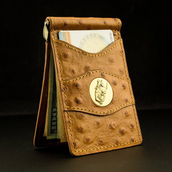 Pendleton Round-Up Leather Clip Wallet: Natural Ostrich Print