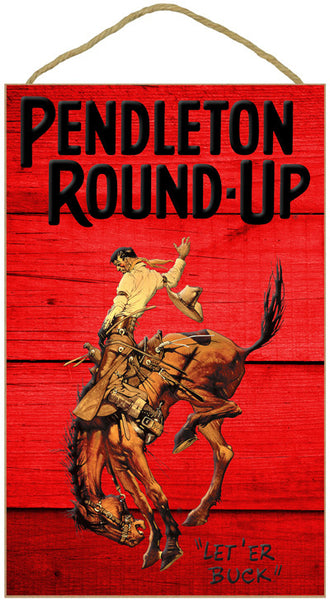 Pendleton Round-Up Barnwood Rope Sign