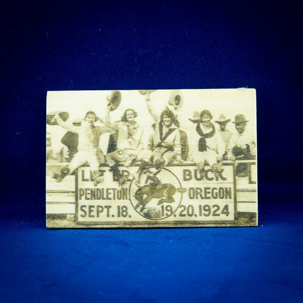 Pendleton Round-Up Wooden Four Cowgirls Magnet