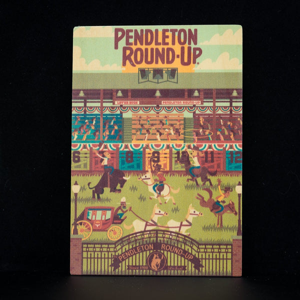 Pendleton Round-Up Wooden Geometric Postcard
