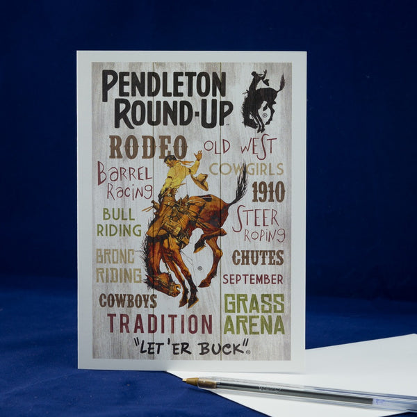 Single Pendleton Round-Up Typography Greeting Card