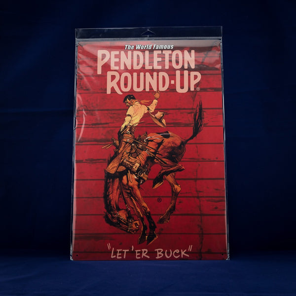12x18 Pendleton Round-Up Metal Barnwood Sign