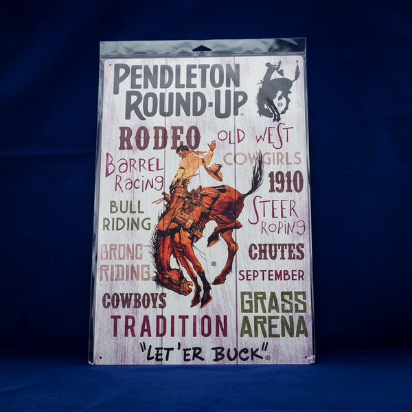 12x18 Pendleton Round-Up Metal Typography Sign