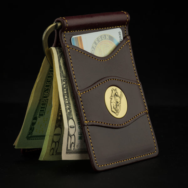 Pendleton Round-Up Leather Clip Wallet: Dark Cherry