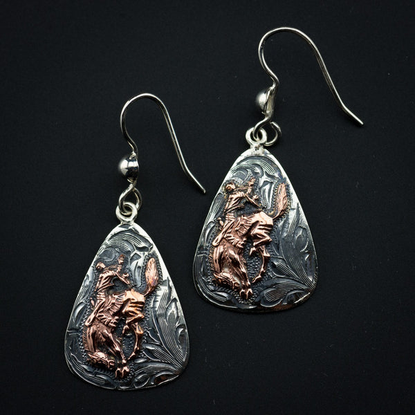 Pendleton Round-Up Vogt Copper Bucking Horse Earrings