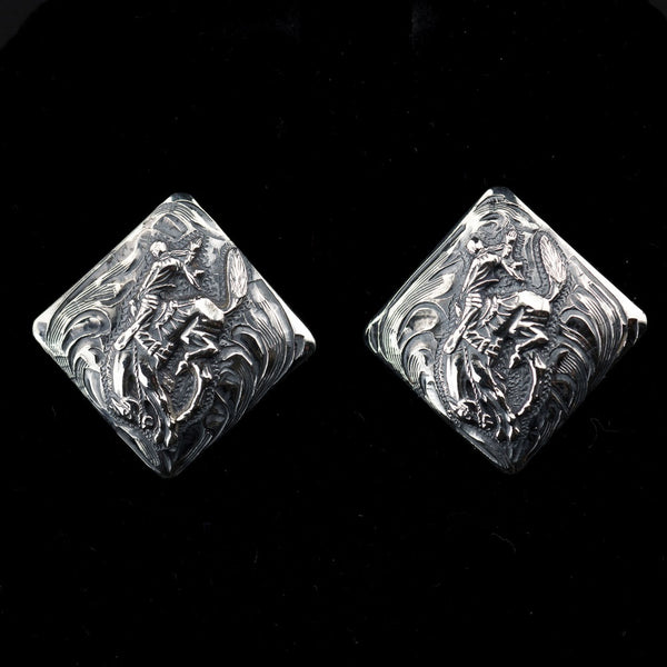 Pendleton Round-Up Vogt Diamond Shape Earrings w/ Silver Bucking Horse
