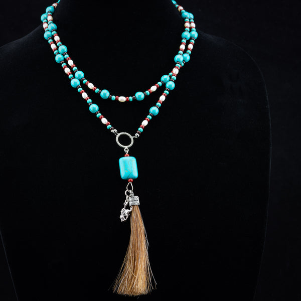 Pendleton Round-Up Horse Hair Tassel Necklace