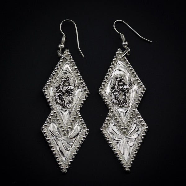 Pendleton Round-Up Montana Silversmiths Double Diamond Earrings