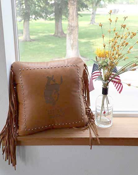 Pendleton Round-Up Leather Pillow w/ Fringe