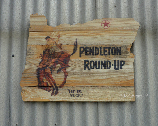 Pendleton Round-Up Oregon Reclaimed Barnwood Sign