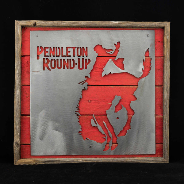 Pendleton Round-Up Framed Barnwood Square Metal Sign