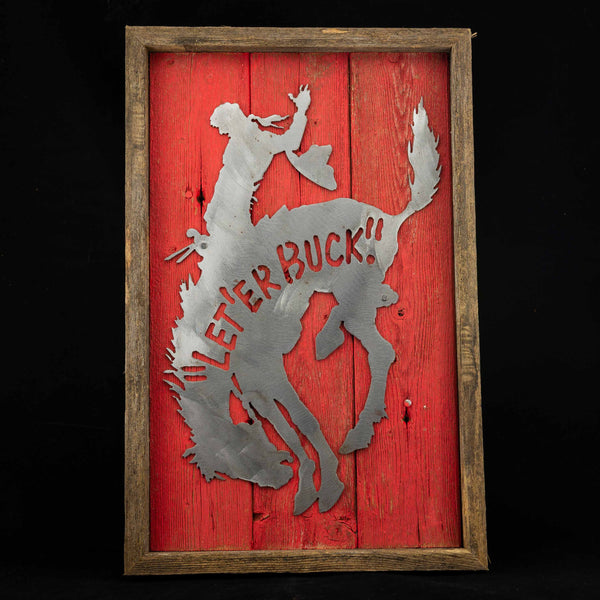 Pendleton Round-Up Framed Barnwood Metal Horse Sign