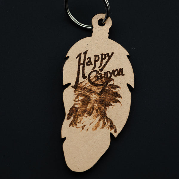 Happy Canyon Leather Feather Keychain