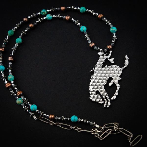 Pendleton Round-Up Rasp Bucking Horse Necklace