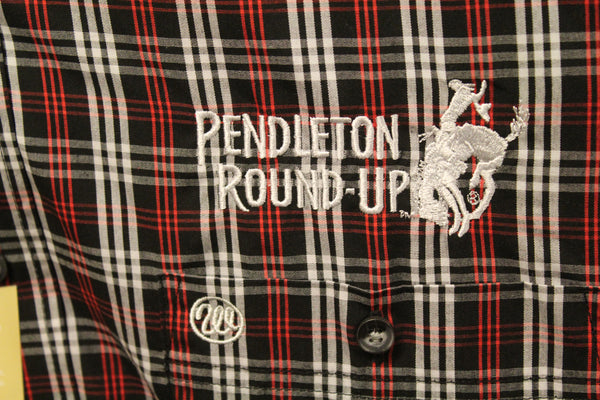 Men's Wrangler Pendleton Round-Up Black Red Plaid Long Sleeve Button Up